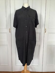 & OTHER STORIES SHIRT DRESS OVERSIZED UK14 EU42 3 FRONT POCKETS  BUTTON FRONT