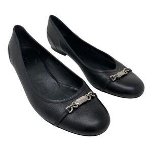 Gucci Women Horsebit Ballet Flats 41 11 Black Pebbled Leather Shoes Silver Logo