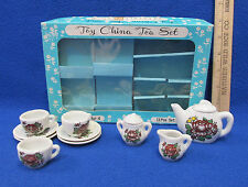 Vintage Childrens Toy China Tea Set For Four Floral Design Pretend Play  Japan