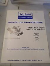 Cub Cadet rear Engine Riding Lawn Mower  Owners and Parts 802 804 1106 French