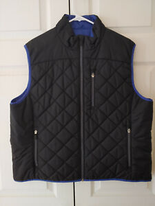 Women Land's End Primaloft Quilted Black Blue Vest Jacket Size XL 18-20