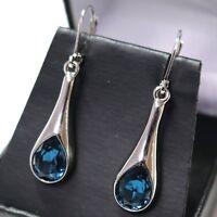 1.5 Cut Pear Cut Blue Sapphire Earrings Women Wedding Engagement Jewelry Gift