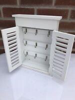 Shabby chic Box Key Storage Cabinet White Wall Decor Keys Rack And Hook French