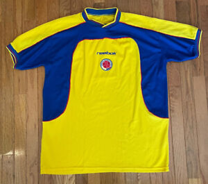 VTG Reebok Colombian Football Federation Yellow/Blue Soccer Jersey - Adult XL