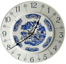 """Blue Willow pattern 10.5"""" large ceramic  wall clock - boxed  willow pattern"""