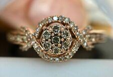 Beautiful Rose Gold , Champagne & White Diamond Swirl Band Ring