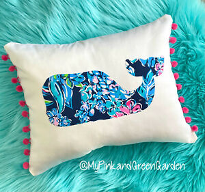 New Whale pillow made with Lilly Pulitzer Fabric, U pick, Assorted Prints