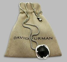 David Yurman 14MM Black Onyx Infinity Medium Pendant Necklace 925 Silver + Chain
