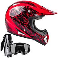 Adult Motocross Helmet Gloves Goggles DOT Red Black