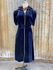 Antique 1930s Blue Silk Velvet Dress Puff Sleeves With Belt Gold Trim  Vintage
