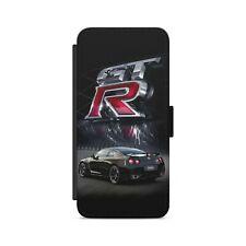 Nissan GTR Sport Car Teléfono Estuche tipo Billetera Abatible de Cuero