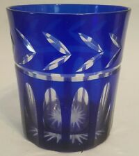 Czech Bohemian Cobalt Blue Cut to Clear Glass Tumbler
