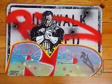 "RD357  "" The Punisher "" Peinture Originale Panneau de Signalisation Graffiti Art"