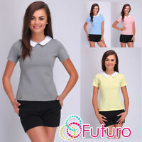 Casual Collared Top With Zip Short Sleeve Office Formal T-Shirt Sizes 8-14 FA407