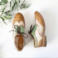 Bed Stu Lita Oxfords Shoes White Brown Green Sz 9