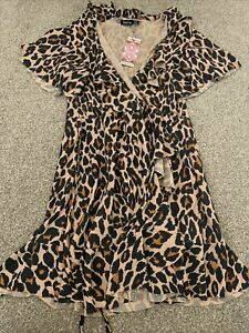 Bnwt Boohoo Ladies Leopard Print Wrap Over Dress Size 14