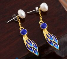 Vintage Chinese Cloisonne Peacock Blue Stud Earrings Pearls 925 Sterling Silver