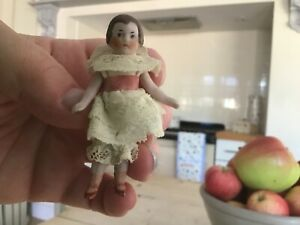Antique miniature bisque doll,3 inch small dolls house toy doll.