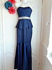 LIPSY VIP SZ 10 JEWEL EMBELLISHED SATIN FISHTAIL BANDEAU MAXI DRESS RRP £160
