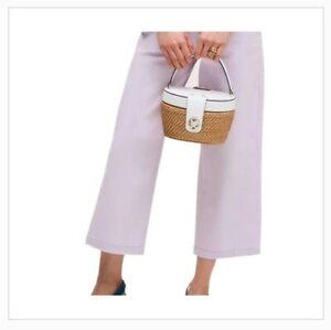 BNNT Kate Spade Medium Rose handle top basket bag tote white leather NEW