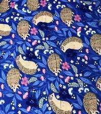 1 1/4 yards Super Snuggle Blue Floral Hedgehog Cotton Flannel Fabric