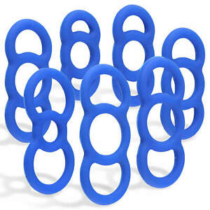 LeLuv Tension Constriction Rings Blue Slippery Coated Silicone for Penis Pumps