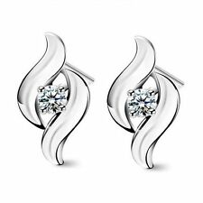 Elegant Retro Women Korean Style Earrings Ear Studs Silver Plated Rhinestone