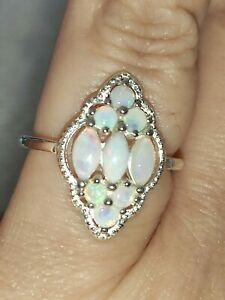🌈 Natural solid Rainbow Opal cluster ring solid 925 Sterling silver size O 7.5