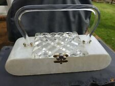 Vintage lucite box purse Ivory Florida Handbags Made In Miami