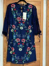 New Yumi Dark Navy Floral Sheer Sleeves Tunic Mini Dress, UK 8, RRP £45