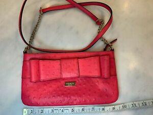 KATE SPADE NEW YORK Women's Leather Bow Hot Pink Crossbody Bag WKRU 2944
