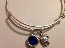 Turtle Bracelet Tiny Charm Crystal Bangle Beach Sea Life Surfer Silver Dark Blue