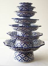 """Lot 7 CERAMIC PLATTER STAND Asian BLUE WHITE 3"""" 4"""" 5"""" 6"""" 7"""" 8"""" 9"""" MICROWAVE"""
