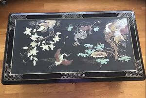 Traditional Korean black lacquer & mother of pearl w/ handcut stone coffee table