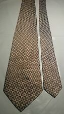 Christian Dior Men's Vintage Silk Tie in a Copper and Silver Geometric Pattern