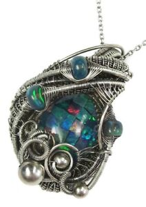 Ethiopian Opal Mosaic Wire-Wrapped Necklace with Ethiopian Opals in Sterling S