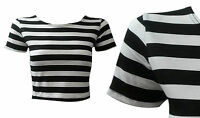 NEW WOMENS BLACK WHITE HORIZONTAL STRIPED CAP SLEEVE JERSEY CROP TOP SIZE 8-14