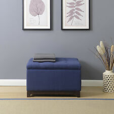 NEW Luxurious Tufted Top Storage Ottoman Stool Seat Footrest Bench Linen, Navy