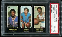 1971 Topps Stickers Basketball #16 Walker / #17 May / #18 Clark PSA 8 NM-MT