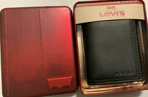 Levi's Men's Leather Wallet Trifold Wallet ID Wallet Black (NIB)