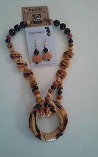 Kazuri Hand-Painted Fair Trade Golden Firefly Ceramic Necklace Earring Set Kenya