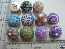 Handmade Poly Clay Button with Metal Base Half Dome with Shank Button Sew on 2pc