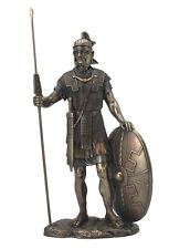 Roman Warrior with Spear And Shield Statue Sculpture Figurine