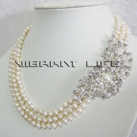 18-20 Inches 6-7mm White 3Row Freshwater Pearl Necklace M3 UK