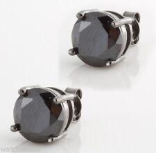 Round Shape Stud Men's Earrings Sterling Silver Black Cz Stones Mini