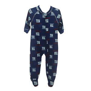 New York Giants Official NFL Apparel Infant Toddler Size Pajama Sleeper Bodysuit