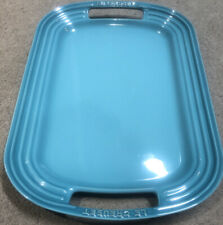 Le Creuset BBQ 16-Inch Oval Rectangular Serving Platter, Caribbean Blue