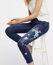 NEW Free People Embroidered Bird Jeans Size 26 Skinny High Rise Skinny