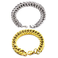 Men Gold Silver Stainless Steel Chain Link Cuff Wristband Bangle Cool Bracelet