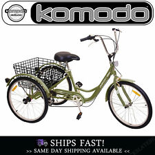 Adult Tricycle Trike Bike 24in 6-speed Shimano PLATOON/ARMY GREEN
